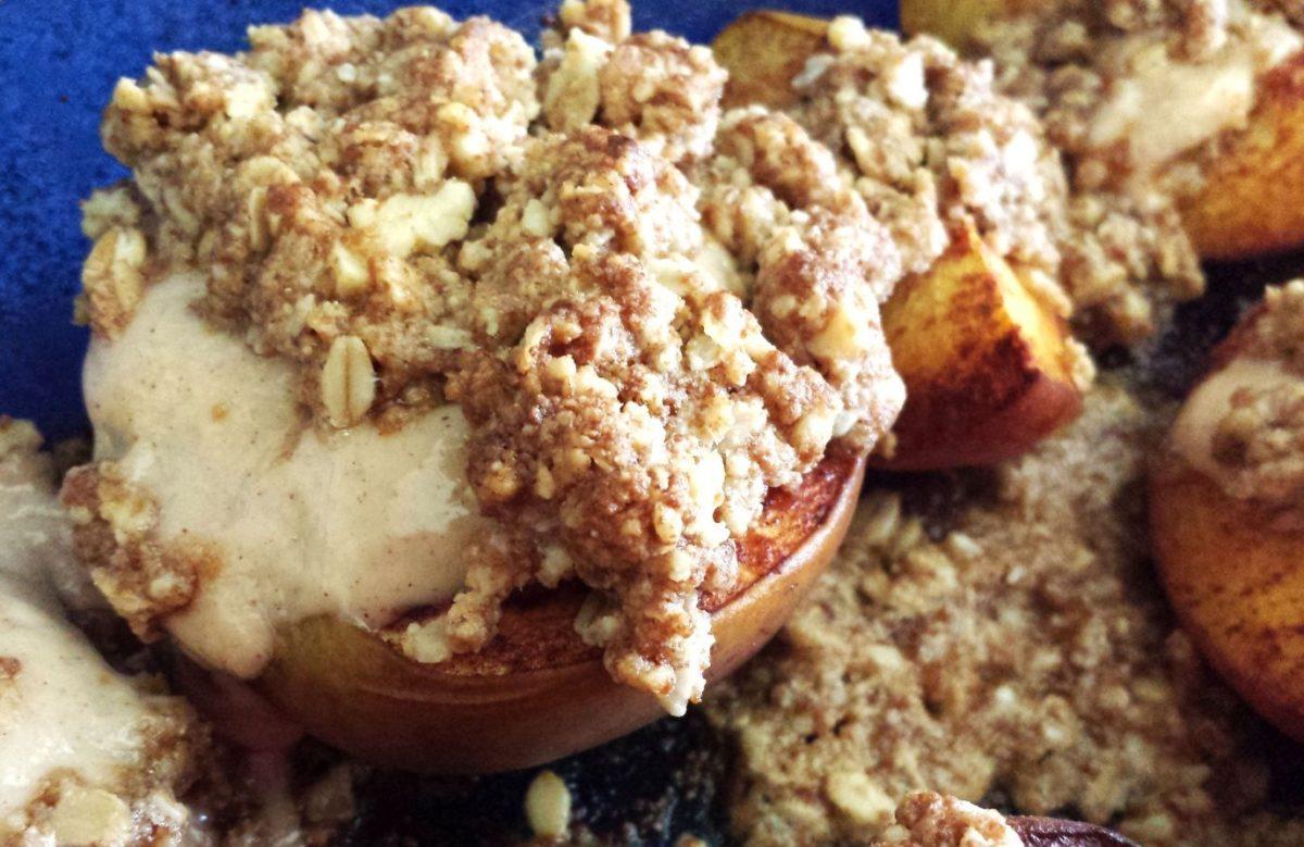 Roasted Peaches with Sweetened Mascarpone