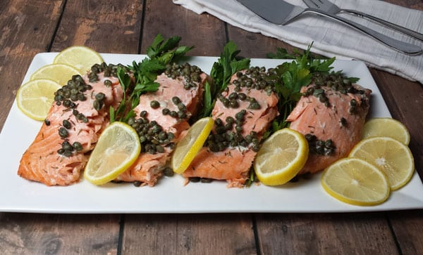 Salmon roasted in the oven with capers