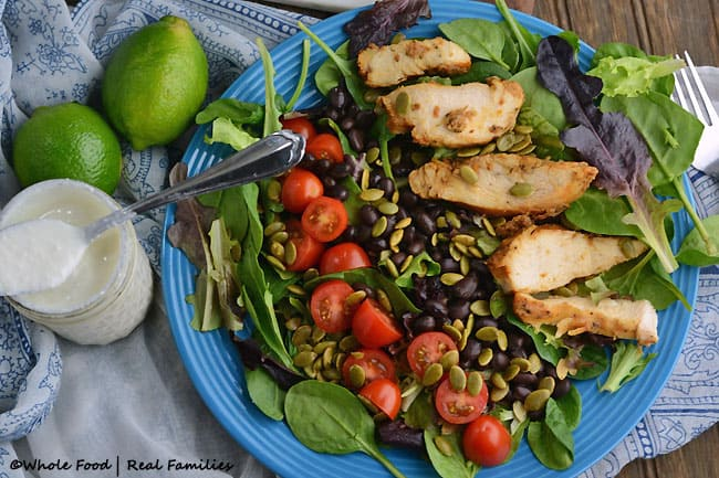 Chicken Black Bean Salad with Creamy Cumin Lime Dressing