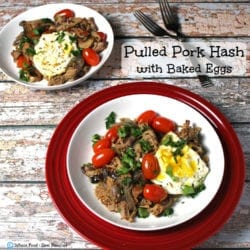 Pulled Pork Hash with Baked Eggs. A clean eating, whole food recipe. No refined ingredients. Great meal for leftover pulled pork!