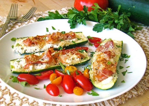 Zucchini with Goat Cheese and Prosciutto