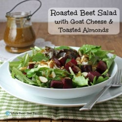 Roasted Beet Salad with Goat Cheese and Toasted Almonds. A clean eating, whole food recipe. No processed ingredients.