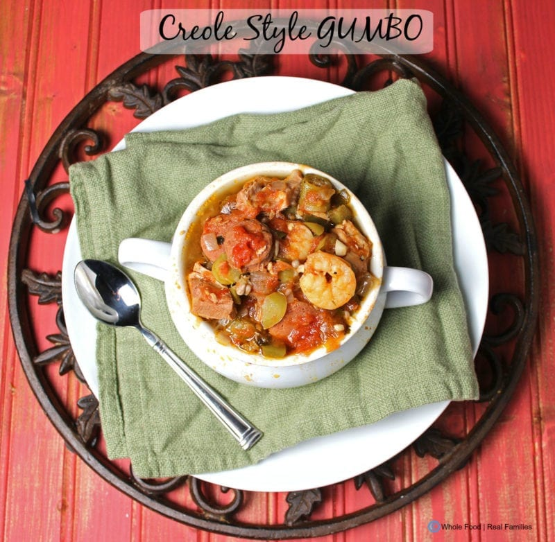 Creole Style Gumbo. A clean eating, whole food recipe with all the taste of Louisiana. No refined ingredients.