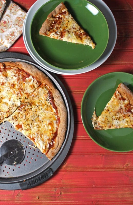 Three Cheese Pizza with Whole Wheat Crust. A clean eating, whole food recipe. No refined ingredients.