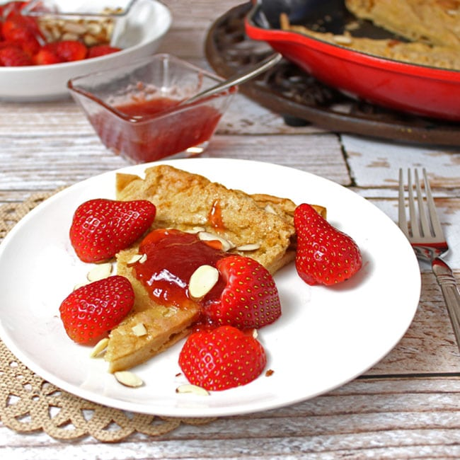 Whole Wheat German Pancakes with Strawberries. A clean eating, whole food recipe. No refined ingredients.