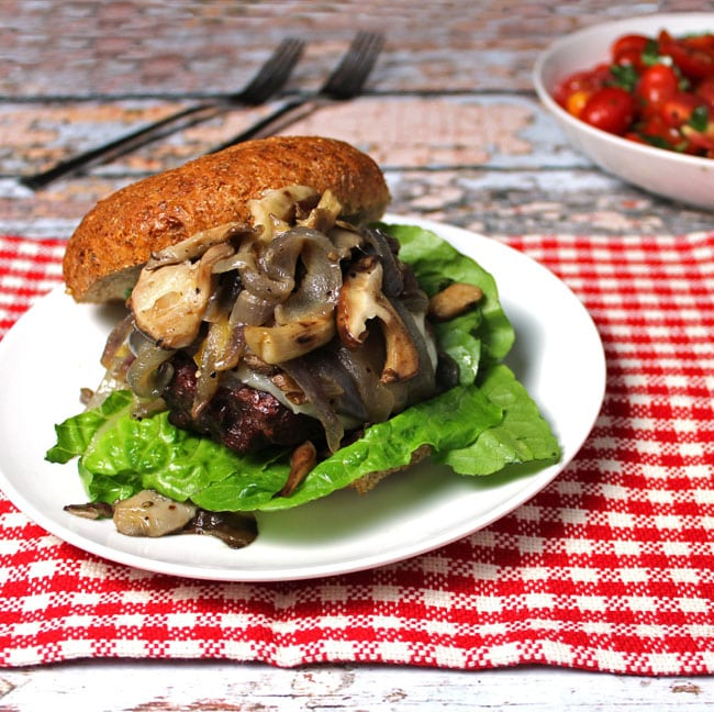 Burger with Caramelized Onions and Mushrooms. A clean eating, whole food recipe. No refined ingredients.
