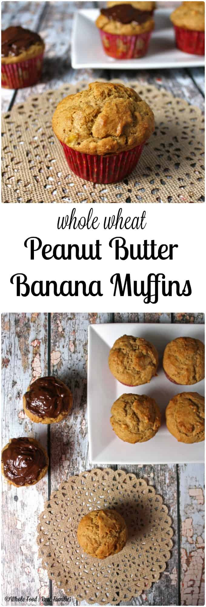 Peanut Butter Banana Muffins were a happy accident in my kitchen when I ran out of bananas. Now they are my kids favorite. Whole wheat and sweet, a perfect healthy breakfast.