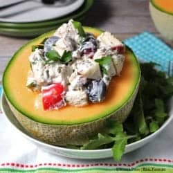 Chicken Salad with Labneh in Melon. A simple solution for chicken salad without mayo. A clean eating, whole food recipe. No refined ingredients.