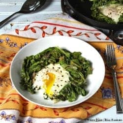 Sauteed Chard with Baked Eggs is a delicious way to eat your veggies for breakfast. A whole food, healthy recipe. No refined ingredients.