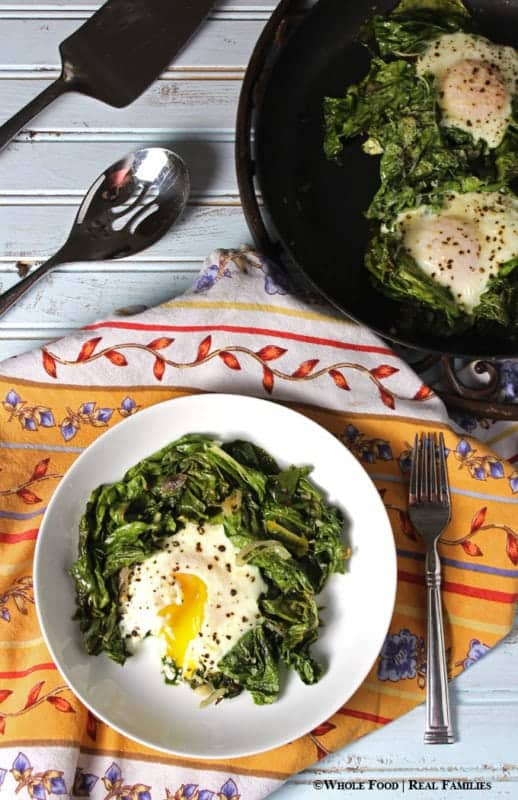 Sauteed Chard with Baked Eggs. A whole food, healthy recipe. No refined ingredients.