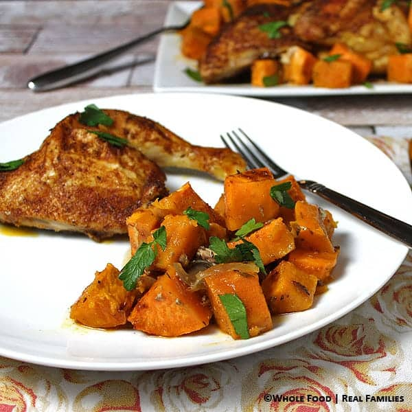 Warm spiced roast chicken over sweet potatoes my nourished home warm spiced chicken over sweet potatoes a whole food healthy recipe no refined forumfinder Images