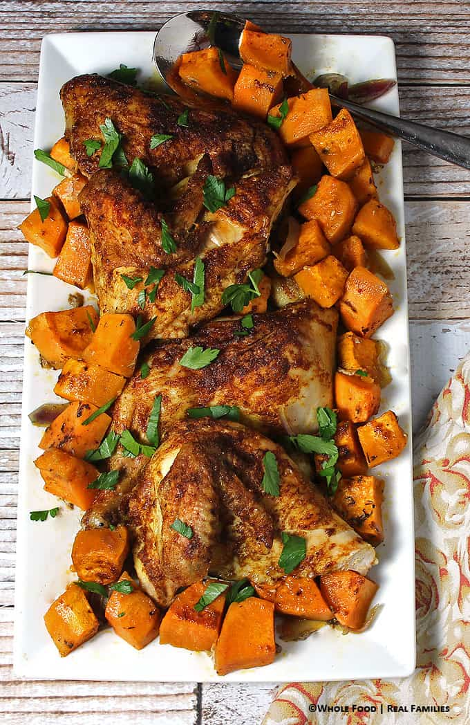 Warm Spiced Chicken over Sweet Potatoes. A whole food, healthy recipe. No refined ingredients.