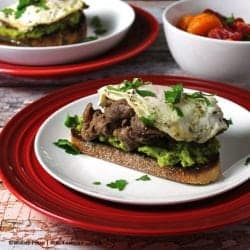 Avocado Crostini with Beef and Eggs.