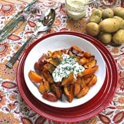 Honey Sriracha Fries with Creme Fraiche and Chives