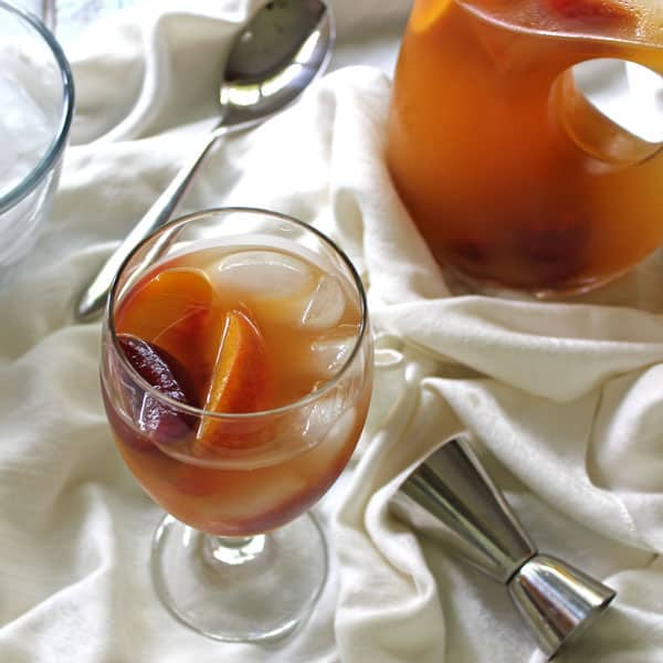 Ginger Peach Sangria with Plums