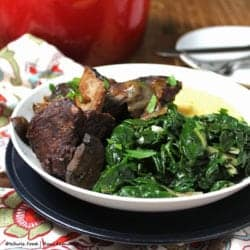 Beef Short Ribs with Polenta and Sauteed Greens