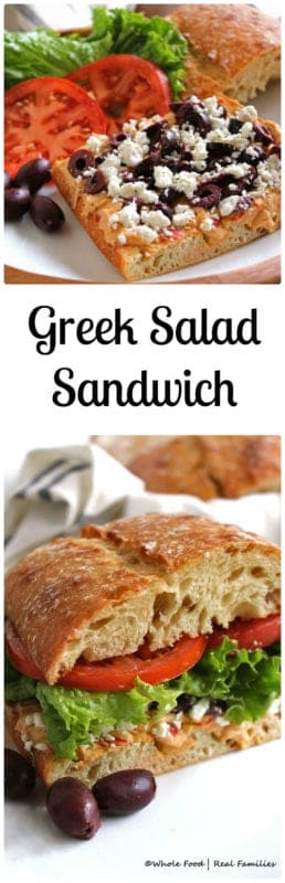 Greek Salad Sandwich from Whole Food | Real Families. An easy vegetarian dinner recipe for a healthy weeknight meal.