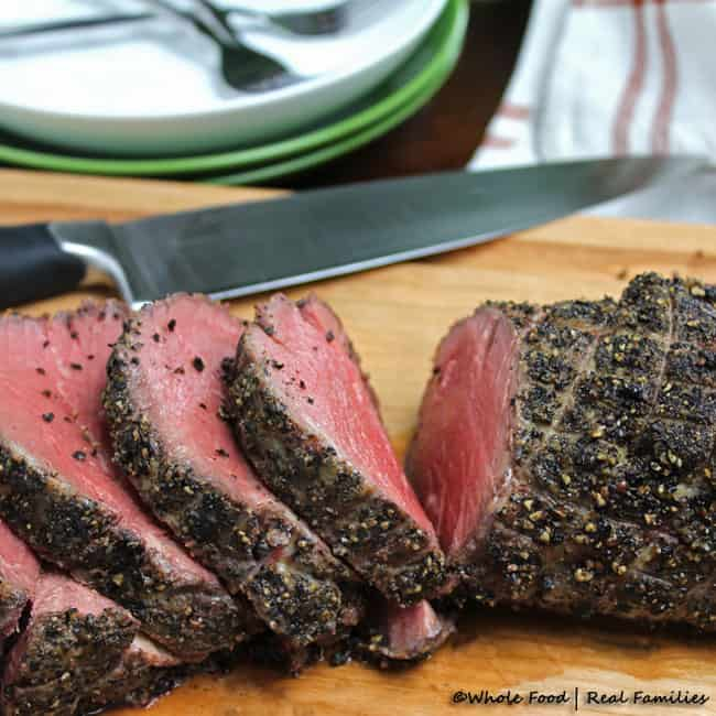 Peppercorn Beef Tenderloin Roast sliced