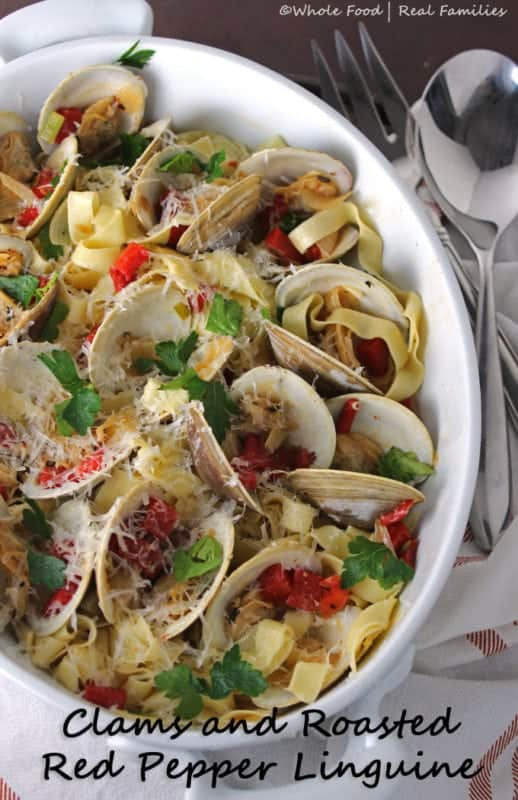 Clams and Roasted Red Pepper Linguine big bowl