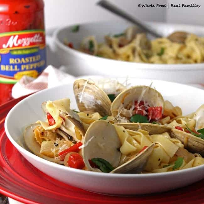 Clams and Roasted Red Pepper Linguine