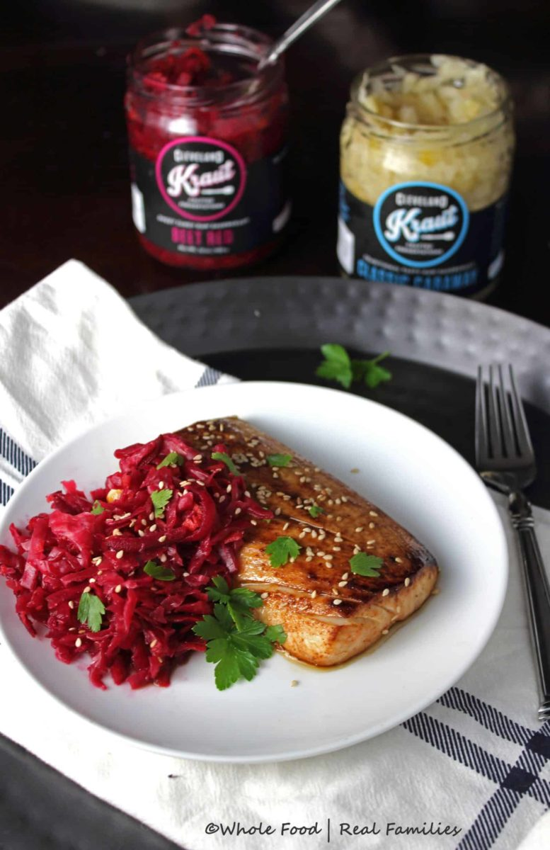 Asian Mahi Mahi with Beet Red Kraut by Whole Food | Real Families with Cleveland Kraut @clevelandkraut