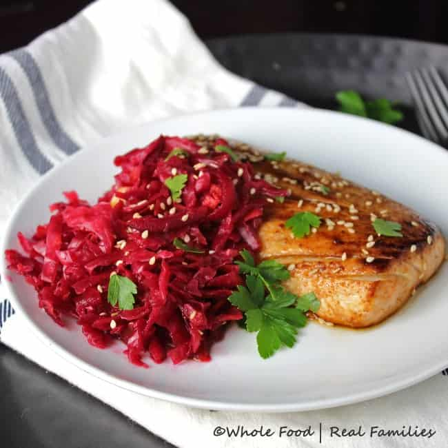Asian Mahi Mahi with Beet Red Kraut from Whole Food | Real Families with Cleveland Kraut. @clevelandkraut