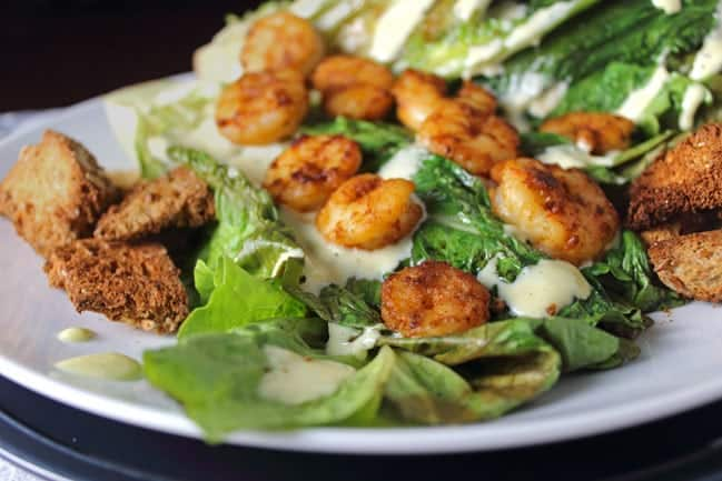 Pan Seared Chipotle Shrimp with Grilled Romaine and Homemade Caesar Dressing