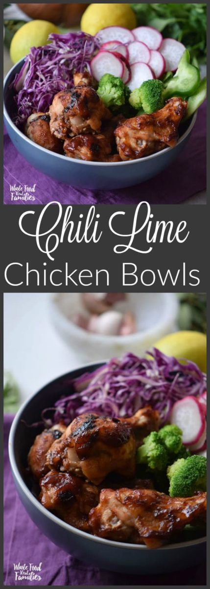 Chili Lime Chicken Bowls are ultra flavorful with lots of fresh veggies to fuel your tastebuds and your health! This recipe is also super fast from stove to table for a perfect weeknight dinner. Make some extras for lunch during the week! They heat up great!