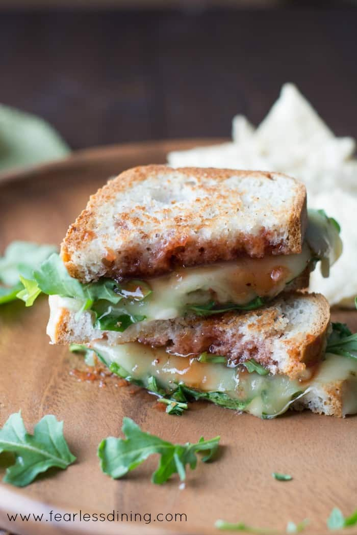 Gluten Free Pepper Jack Grilled Cheese with Strawberry Hot Sauce and Arugula hero for National Sandwich Month