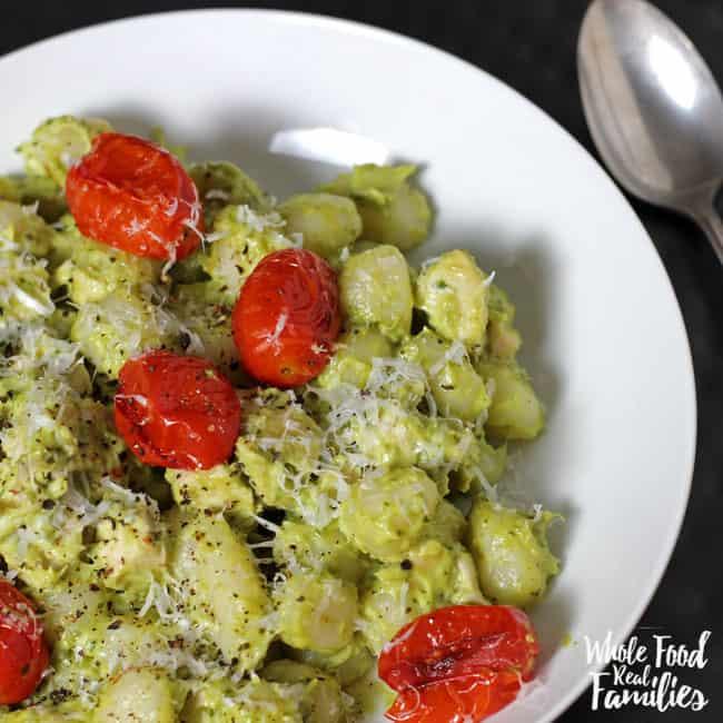 Creamy Pesto Gnocchi with Roasted Tomatoes