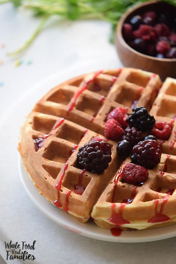 Healthy Berry Oat Waffles are so good!! My kids love them and they freeze great!