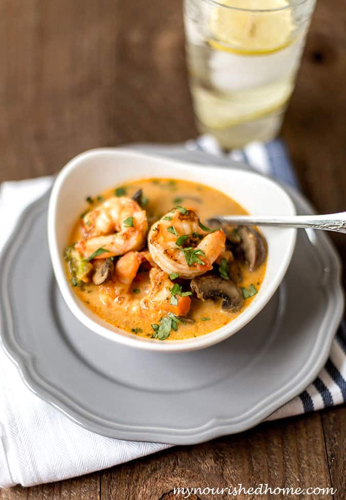 This Shrimp and Vegetable Coconut Curry Soup is one of our favorite coconut curry recipes!