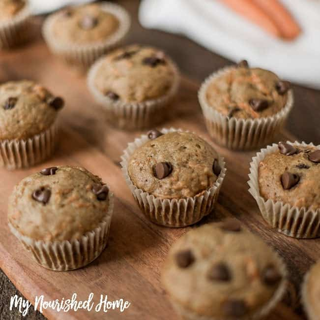 Healthy Carrot Cake Chocolate Chip Muffins | My Nourished Home