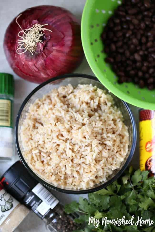 Ingredients for slow cooker vegetarian enchiladas