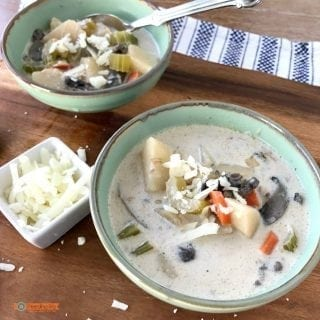 Healthy Potato Chowder with Mushrooms, in the slow cooker