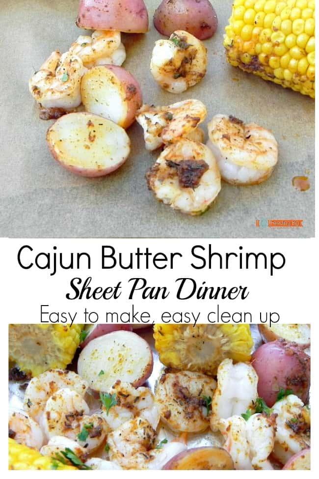 Cajun Butter Shrimp, a sheet pan dinner