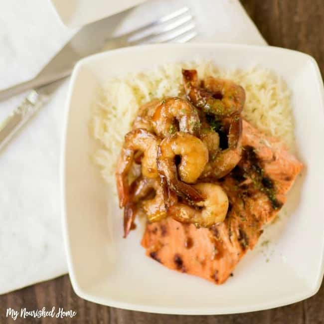 Quick and Easy Dinner for 2 - Salmon and Shrimp