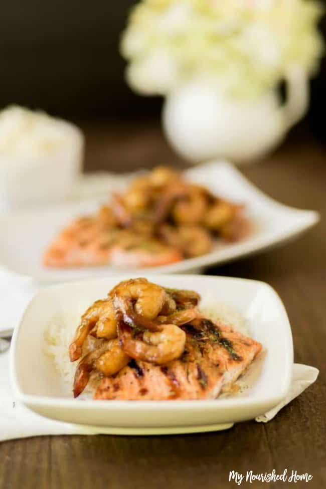Quick Grilled Salmon and Shrimp, an easy dinner