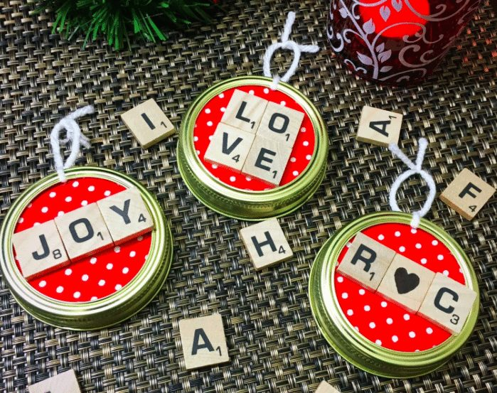 Scrabble Mason Jar Ornament