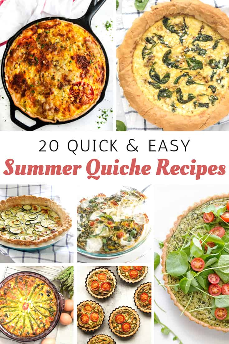 Summer quiche recipes for breakfast, lunch and dinner.