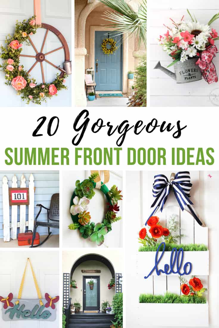20 Gorgeous Summer Front Door Ideas You Can DIY - IWishIWasCrafty.com