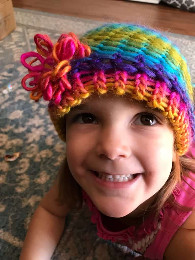 Loom knit this cute hat