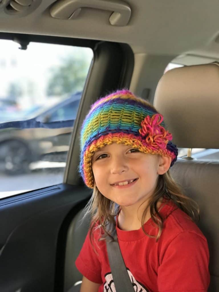 Loom knit this adorable knit cap for your kids