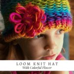 Colorful Knit Hat with Flower