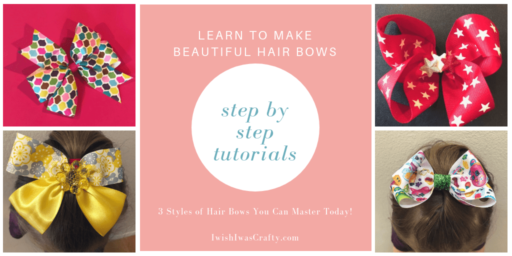 Steo by Step Tutorials for 3 different styles of hair bows you can master today