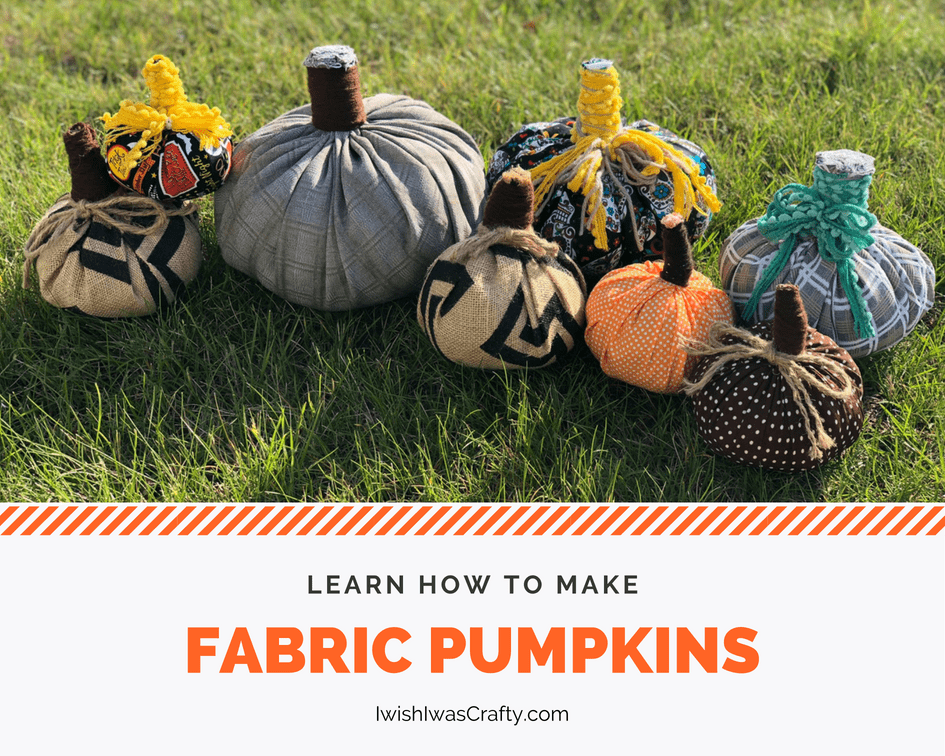 Easy steps to make fabric pumpkins with scrap cloth!
