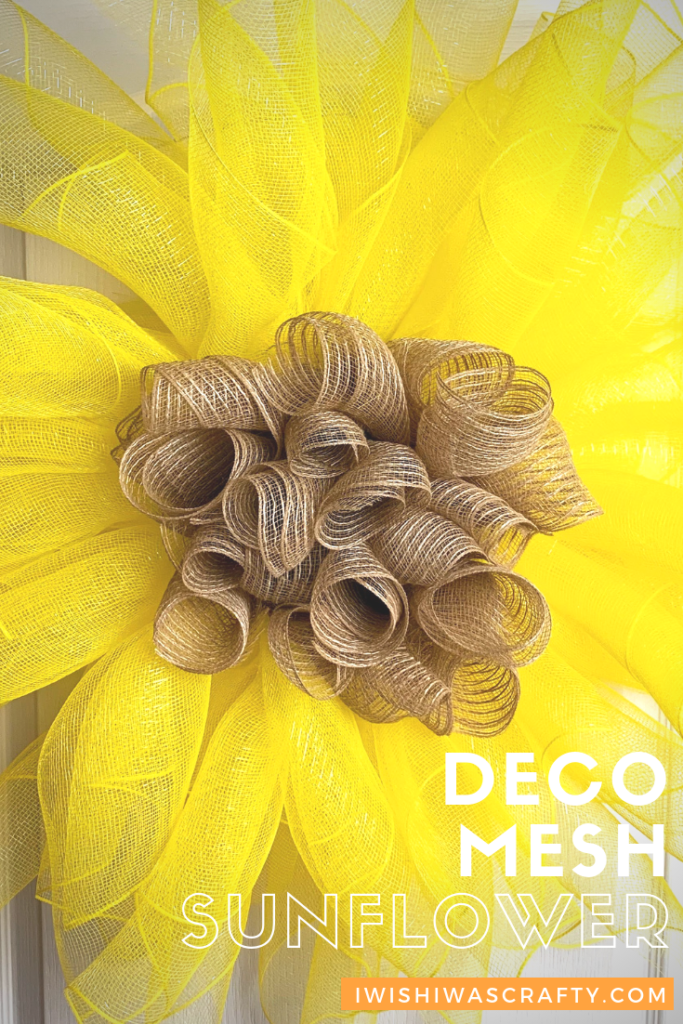 Sunflower Wall Decor with Deco Mesh
