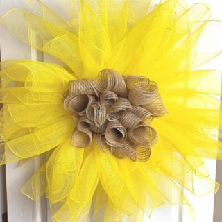 Deco mesh sunflower for little girls room