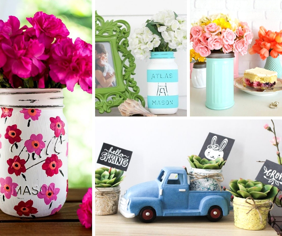 Bright, Crafty Spring Projects to try with Mason jars