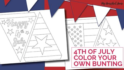 Fourth of July Color Your Own Bunting Paper Craft for Kids - MYNOURISHEDHOME.COM